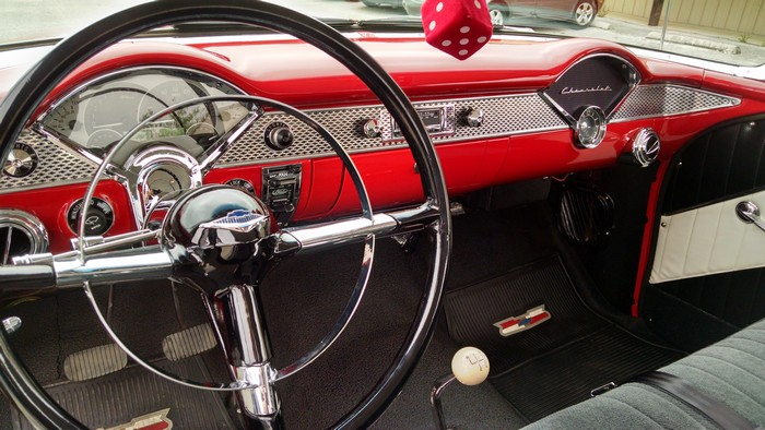 1955 Chevy showing full front dash view