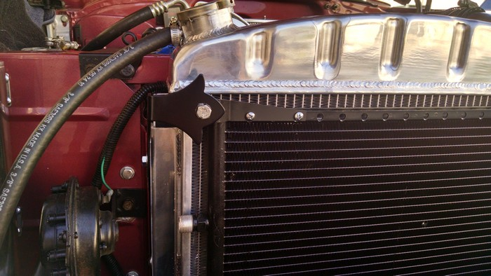 1957 Chevy close-up of radiator and mounts
