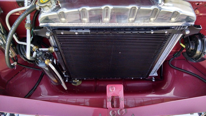 1957 Chevy shows full radiator installed