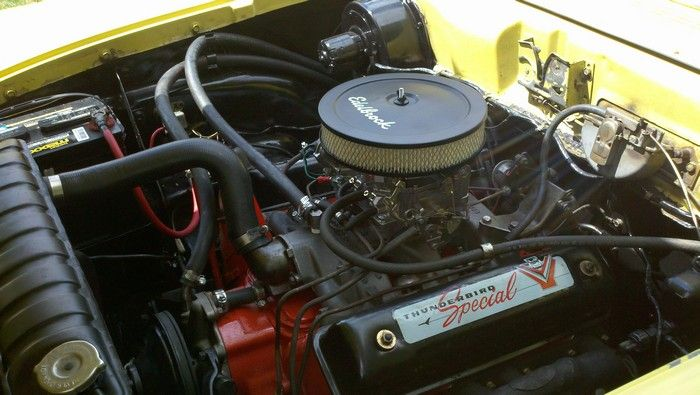 1957 Ford Fairlane engine showing Thunderbird Special valve cover