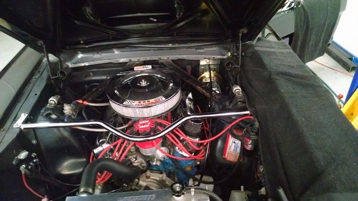 1966 Ford Mustang view of engine and air cleaner
