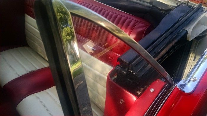 1966 Mustang Convertible back seat with top down and rear window up