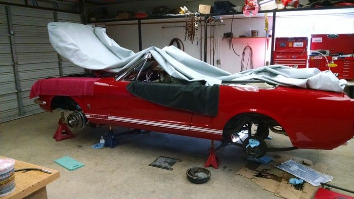 1966 Mustang Convertible on jacks with no wheels