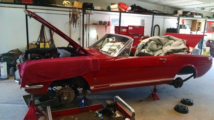 1966 Mustang Convertible body shell on jacks