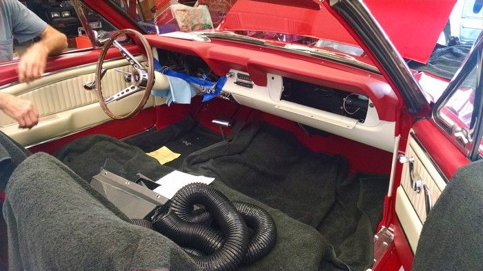 1966 Mustang Convertible front seat area during renovation