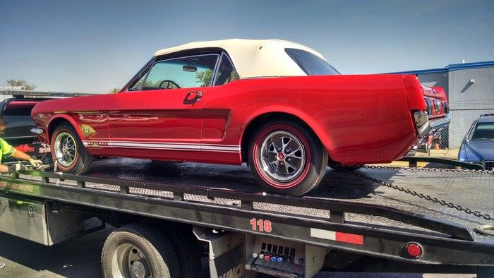 1966 Mustang Convertible car on transport trailer