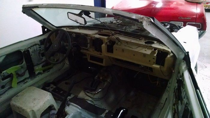1986 Mustang GT Convertible front seat area everything removed for repair