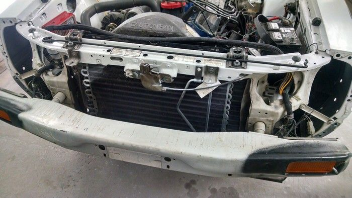 1986 Mustang GT Convertible front radiator section before renovation