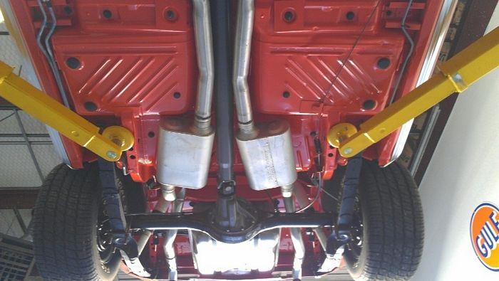 1970 Barracuda under body view showing mufflers