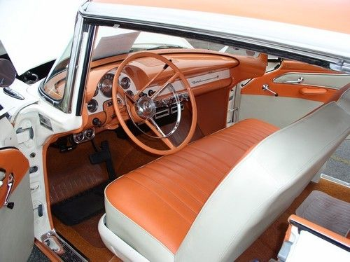 1956 ford, driver view, door open, front seat and steering wheel