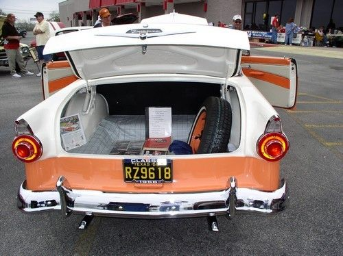 1956 ford, rear view, open trunk