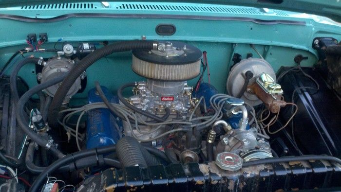 1967 Ford F350 truck engine compartment