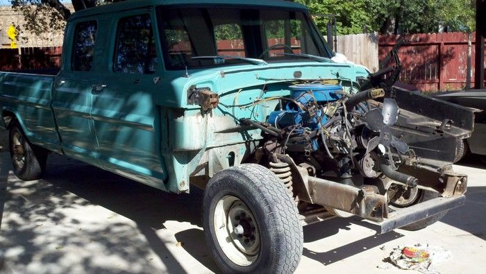 1967 Ford F350 engine with fenders and hood removed