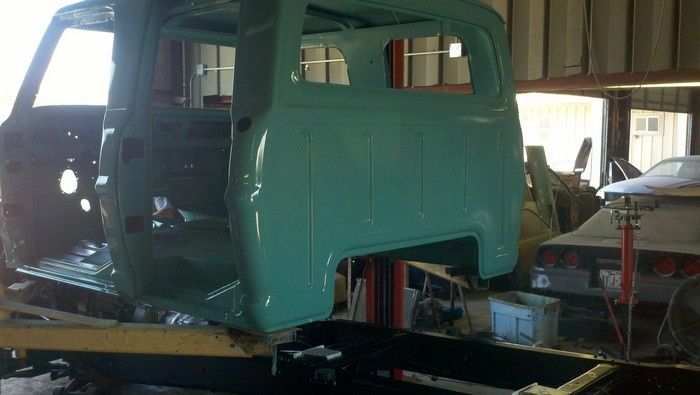 1967 Ford F350 back of cab being put on the frame