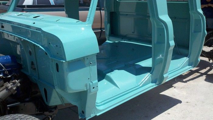 1967 Ford F350 repainted cab showing the inside