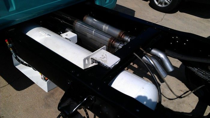 1967 Ford F350 LP gas fuel tank installed in truck frame