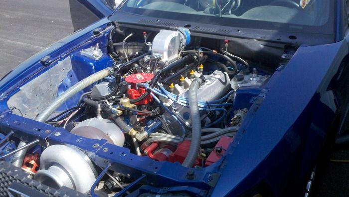 1969 Ford Mustang Mach 1 Twin Turbo Hemi engine view