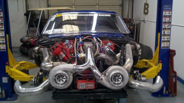 1969 Ford Mustang Mach 1 Twin Turbo Hemi uncovered view of turbos