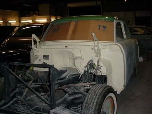 firewall after new paint, front chassis, 1954 Packard Patrician