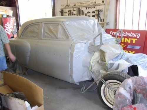 1954 Packard Patrician, masked with primer, passenger side