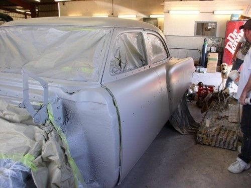1954 Packard Patrician, masked with primer, driver side view