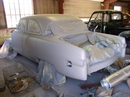 1954 Packard Patrician, masked with primer, rear view