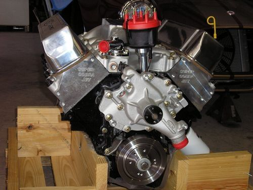 new 500 horse power 460 motor before installation, front view, 1966 shelby cobra