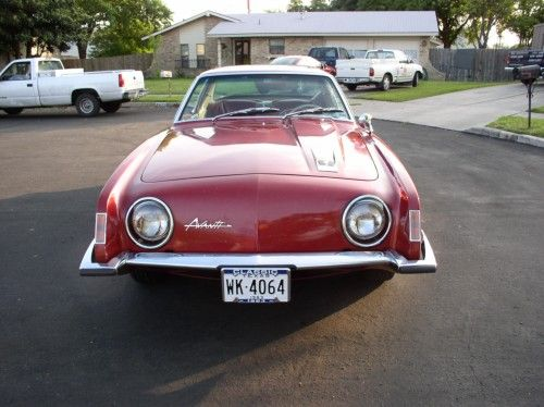 Studebaker 1963 Avanti, front view, shows headlights and the non-grill