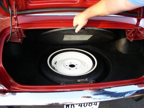 Studebaker 1963 Avanti, trunk open, shows spare tire